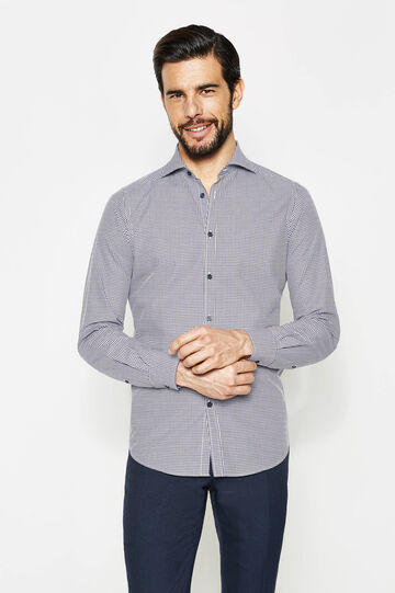 Slim-fit micro-check formal shirt
