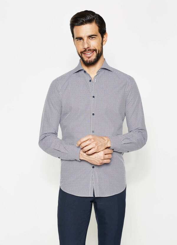Slim-fit micro-check formal shirt | OVS