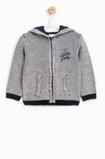 Knit sweatshirt with lettering embroidery, Grey Marl, hi-res