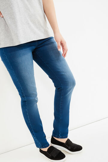 Curvy worn-effect stretch jeans, Blue, hi-res