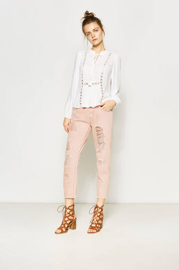100% cotton trousers with rips, Pink, hi-res