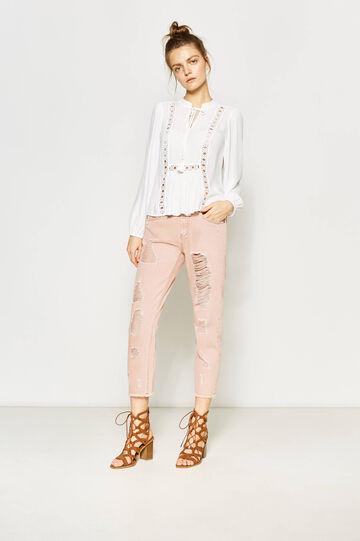 Pantalón en algodón 100% con secciones rotas, Rosa, hi-res