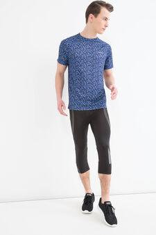 T-shirt sportiva con fantasia, Blu, hi-res