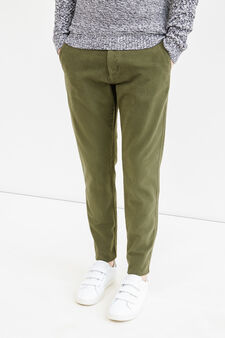 Regular-fit stretch cotton chino trousers, Green, hi-res