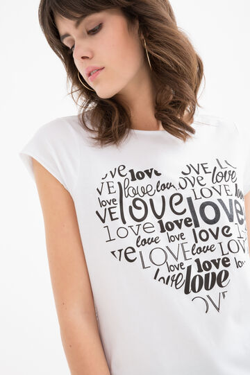 Printed T-shirt in 100% cotton, White/Black, hi-res