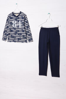 Striped pyjamas in 100% cotton, Grey/Blue, hi-res