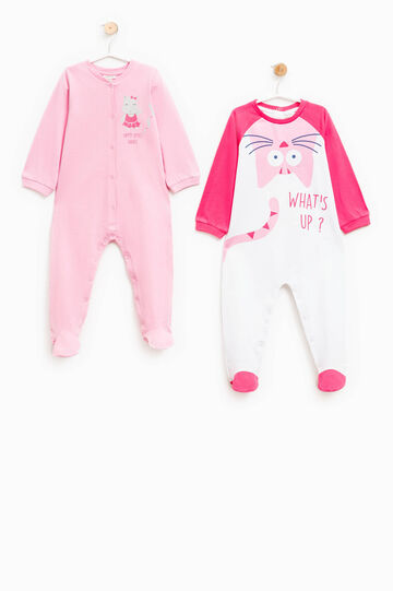 Two-pack printed cotton pyjama bodysuits, White/Pink, hi-res