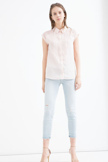 Solid colour blouse with bluff collar, Pink, hi-res