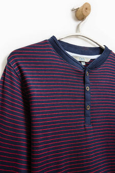Striped pattern T-shirt in 100% cotton, Red, hi-res