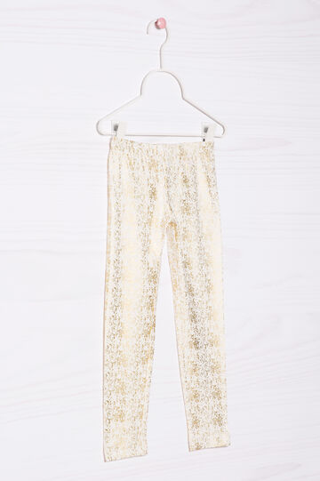 Leggings cotone stretch fantasia, Bianco latte, hi-res