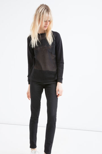Openwork sweatshirt in 100% cotton, Black, hi-res