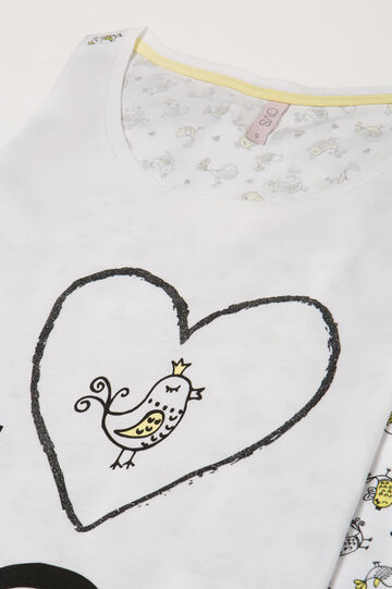 Nightdress with birds print, White, hi-res