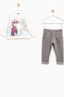 Stretch tracksuit with Frozen print, White/Grey, hi-res