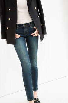Worn-effect stretch push-up jeans, Dark Blue, hi-res