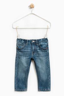 Worn-effect jeans with zip, Denim, hi-res