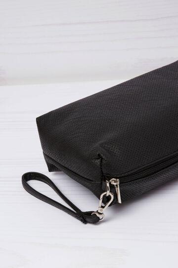 Mini bag in similpelle traforata, Nero, hi-res