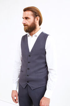 Slim-fit viscose waistcoat with contrasting colour back, Grey, hi-res