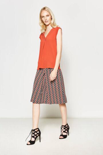 V-neck stretch blouse, Dark Orange, hi-res