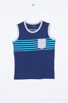 100% cotton vest top with pocket, Blue, hi-res