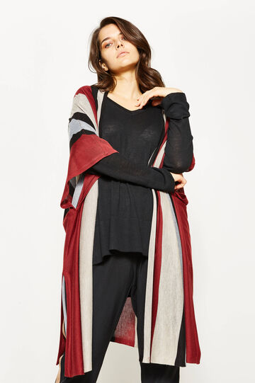 Curvy long striped cardigan, Multicolour, hi-res