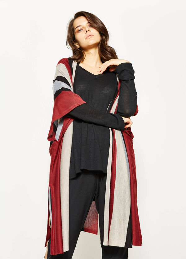 Curvy long striped cardigan | OVS