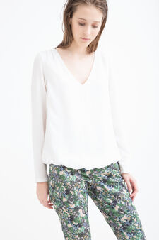 Solid colour V-neck blouse, Cream White, hi-res