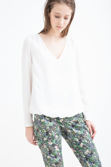 Solid colour V-neck blouse, Cream White, hi-res