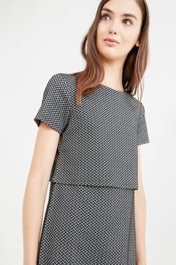 Stretch dress with geometric print, Black, hi-res