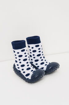 Pantofole calzino fantasia a pois, Blu navy, hi-res