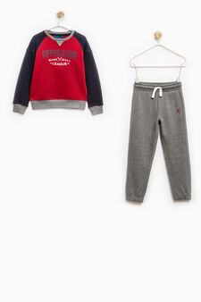100% cotton tracksuit with printed lettering, Blue/Red, hi-res