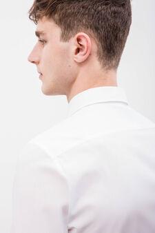Slim fit cotton blend formal shirt, White, hi-res