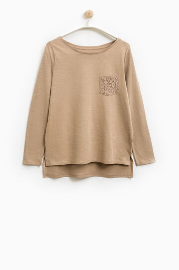 Smart Basic T-shirt with lace pocket, Sand, hi-res