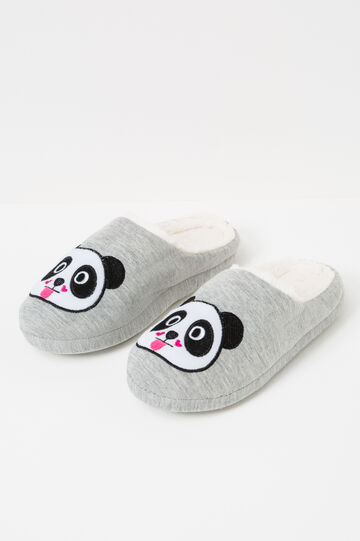 Solid colour slippers with panda patch, Grey, hi-res
