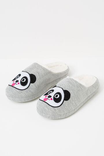 Pantofole tinta unita patch panda, Grigio, hi-res