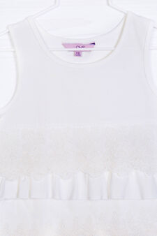 Stretch cotton top with flounces, White, hi-res