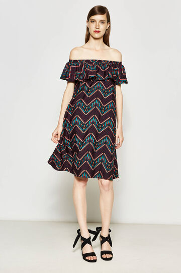 Patterned dress with boat-neck