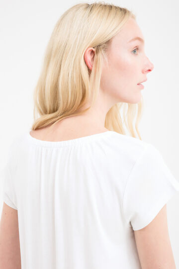 T-shirt puro cotone con nappine, Bianco, hi-res
