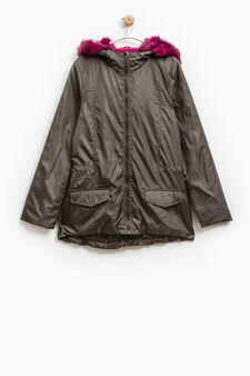 Parka with faux fur trim, Army Green, hi-res