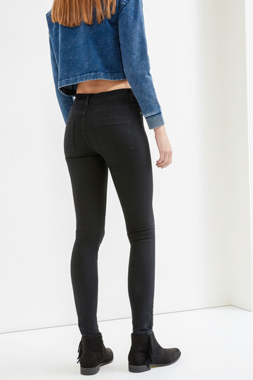 Mis-dyed, stretch skinny-fit jeans, Black, hi-res