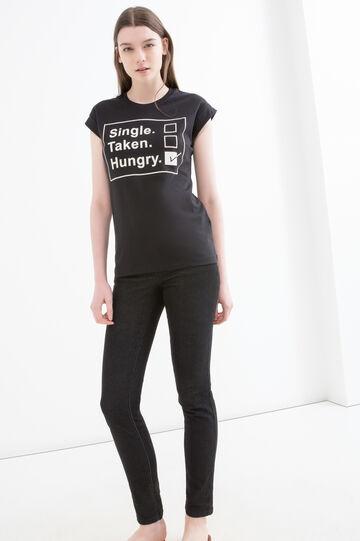 T-shirt puro cotone stampata, Nero, hi-res
