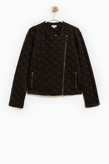 Stretch jacket with raised polka dots, Black, hi-res