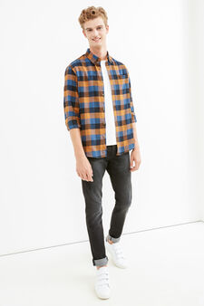 Casual check shirt with button down collar, Blue/Brown, hi-res
