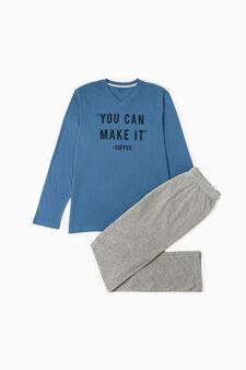 Cotton-viscose pyjamas with printed lettering, Light blue/Grey, hi-res