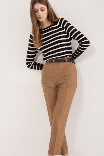 Pantaloni modello capri misto lino, Marrone chiaro, hi-res