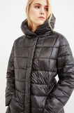 Curvy down jacket with solid colour high neck, Black, hi-res