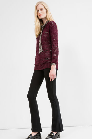 Knitted openwork pullover, Aubergine, hi-res