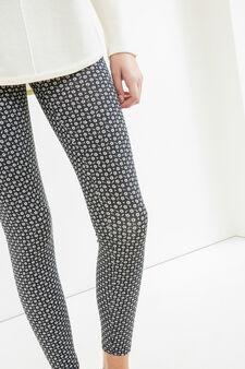 Leggings cotone stretch stampa all-over, Nero/Bianco, hi-res