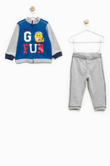 100% cotton tracksuit with printed lettering, Multicolour, hi-res