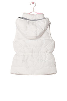 Padded waistcoat with high collar and zip, White/Orange, hi-res