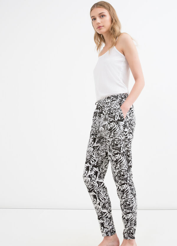 100% viscose trousers with drawstring | OVS